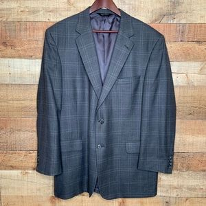 Jos. A Bank | 100% Wool Gray Windowpane Blazer 46R